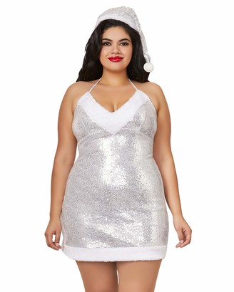Dreamgirl Women's Plus Size Santa Chemise With Silver Sequin Mesh & Lining 3X