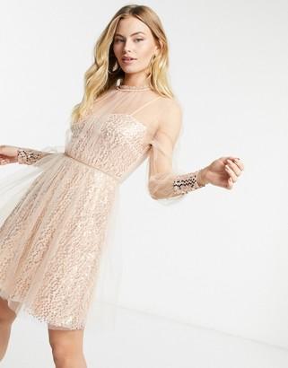 Forever U mesh top embellished mini dress in rose gold