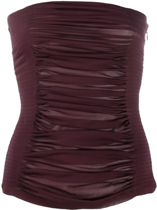 Yves Saint Laurent Pre Owned Gathered Strapless Top
