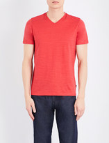 HUGO BOSS V-neck textured cotton T-shirt
