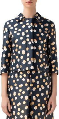 Akris Punto Gold Leaf Dot Crop Jacket