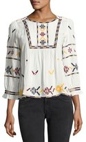 BA&SH Sean Embroidered Peasant Blouse, Ecru/Ciel