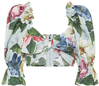 Dolce & Gabbana Floral cotton poplin crop top