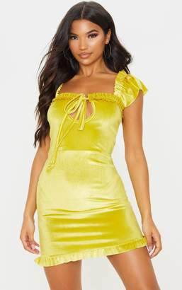 PrettyLittleThing Chartreuse Velvet Frill Detail Bodycon Dress