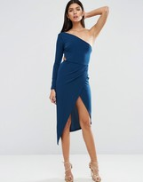 Asos One Shoulder Crepe Wrap Midi Dress