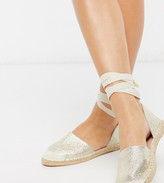 London Rebel wide fit two part flat espadrilles in gold