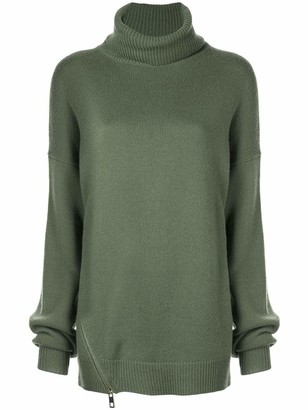 Tibi Cashmere Side Zip Turtleneck Sweater