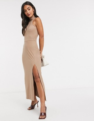 Fashion Union sleeveless midi dress with roll neck and split