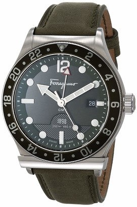 Salvatore Ferragamo Stainless Steel Analog Quartz Watch with Leather Strap Olive 17.8 (Model: 7630030546785)