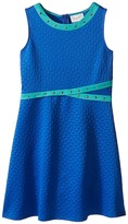 Us Angels Embossed Scuba Sleeveless Fit & Flare w/ Stud Trim (Big Kids)