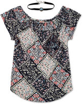 Arizona Off Shoulder Smocked Top With Choker 2Fer - Girls' 7-16 and Plus