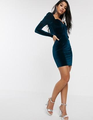 Pretty Darling velvet bodycon dress-Navy