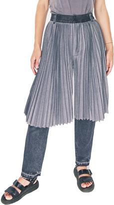 Ksenia Schnaider Reworked Denim Demis Jeans with Skirt