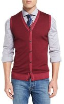 Kiton Washed Cashmere Sweater Vest, Red