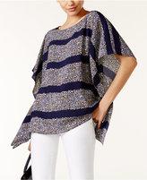 MICHAEL Michael Kors Quinn Floral-Print Striped Poncho Top