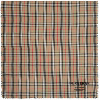 Burberry Tan Cashmere Lightweight Vintage Check Scarf