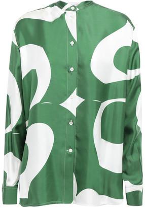 Victoria Beckham Printed Silk-satin Twill Shirt