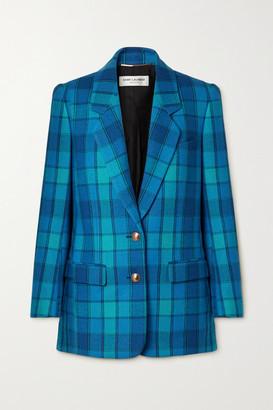 Saint Laurent Checked Wool-twill Blazer - Bright blue