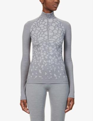 FALKE ERGONOMIC SPORT SYSTEM Abstract-print high-neck wool-blend top