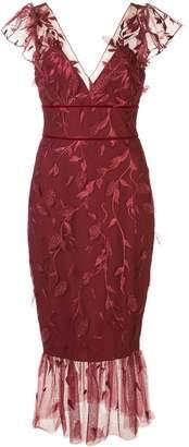 Marchesa v-neck leaf-embroidered dress