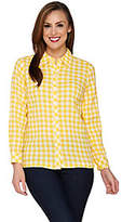 Denim & Co. Gingham Check Button Front Shirt