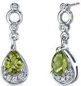 Peora Simply Classy 1.50 Carats Peridot Dangle Earrings in Sterling Silver Rhodium Nickel Finish