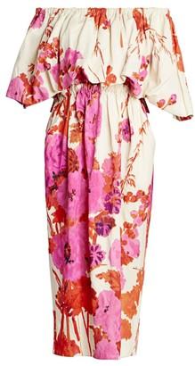 Dries Van Noten Dayna Off-The-Shoulder Floral Puff-Sleeve Midi Dress