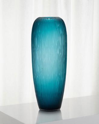 John-Richard Collection Carved Teal Glass Vase
