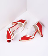 Unique Vintage Red & Ivory Leatherette Peep Toe T-Strap Pump Shoes