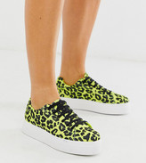 Asos Design DESIGN Wide Fit Day Light chunky flatform lace up sneakers in lime leopard