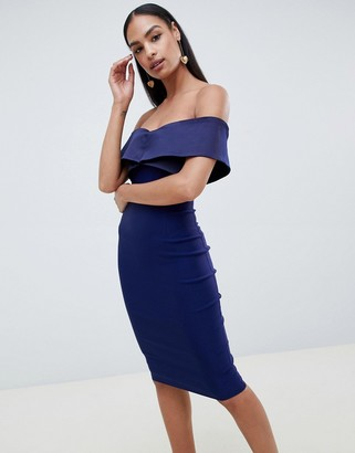 Vesper bardot pencil dress with contrast trim