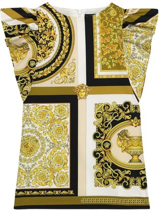 Versace Kids Barocco Mosaic cotton poplin dress