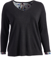 NYDJ Pink Thistle Autumn Fields Mixed-Media Sweater - Plus