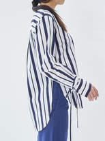 P & Lot Multi Stripe Sleeve Tie Blouse