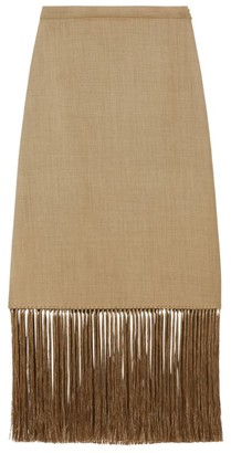 Burberry Fringed Wool-Cashmere Skirt