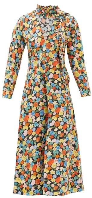 Ganni Ruffled Floral-print Organic Cotton-poplin Dress - Multi