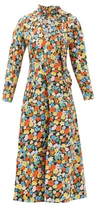 Ganni Ruffled Floral-print Organic Cotton-poplin Dress - Multi