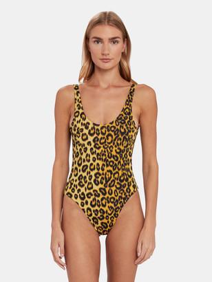 Les Girls Les Boys Leo Print Scoop Back Swimsuit