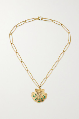 Brent Neale Shell 18-karat Gold Emerald Necklace - one size