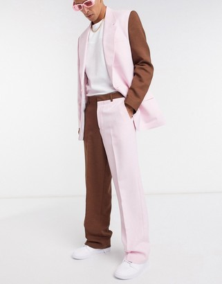 Jaded London two-piece split hem loose fit pants in pink and chocolate