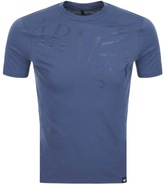 Giorgio Armani Jeans Crew Neck Logo T Shirt Blue