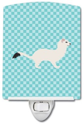 Caroline's Treasures Stoat Short-tailed Weasel Blue Check Ceramic Night Light