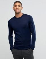 Lindbergh Sweater In Merino Wool In Navy