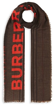 Burberry Horseferry Print & Icon Stripe Silk Wool Scarf