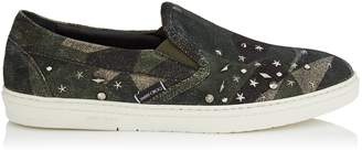 Jimmy Choo GROVE Printed Army Camo Distressed Suede Slip On Trainers with Silver Mixed Metal Studs
