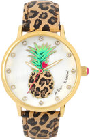 Betsey Johnson Women's Brown Leopard Printed Leather Strap Watch 42mm BJ00496-60