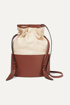 Hunting Season Lola Raffia And Leather Shoulder Bag - Sand