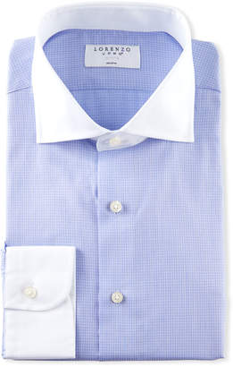 Lorenzo Uomo Men's Grid Check Dress Shirt