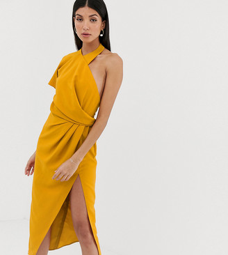 Asos Tall DESIGN Tall asymmetric neckline drape detail midi dress-Yellow