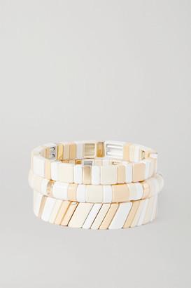 Roxanne Assoulin Triple Creme Set Of Three Enamel And Gold-tone Bracelets - Beige
